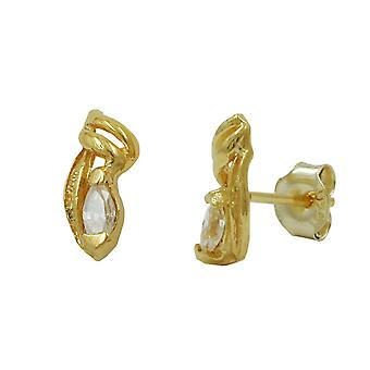 Gold Stud Earrings gold 375 plug, filigree, with cubic zirconia, 9 KT