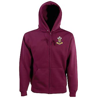 The Welch Regiment Embroidered Logo - Official British Army Zipped Hoodie Jacket