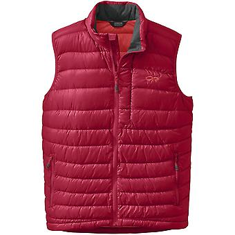 Outdoor Research Mens Transcendent Down Vest Agate/Hot Sauce (Medium)