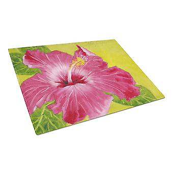 Hot Pink Hibiscus by Malenda Trick Glass Cutting Board Large