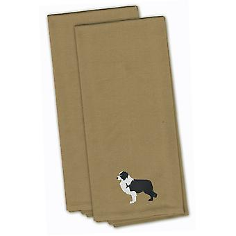 Black Border Collie Tan Embroidered Kitchen Towel Set of 2
