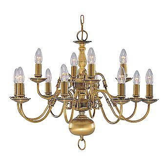 Searchlight 1019-12AB Flemish Antique Brass 12 Light Fitting