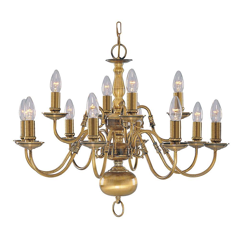 Searchlight 1019-12AB Flemish Antique Brass 12 Light Fitting