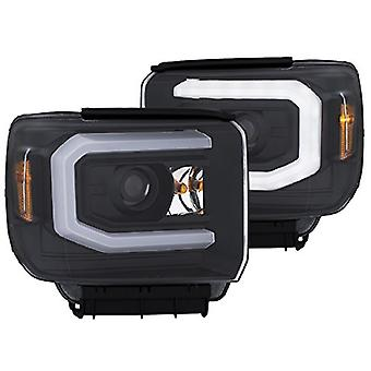AnzoUSA 111369 Headlight (Projector W/Plank Style Black W/Drl Gmc Pair)