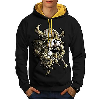 Scared North Joke Men Black (Gold Hood)Contrast Hoodie | Wellcoda