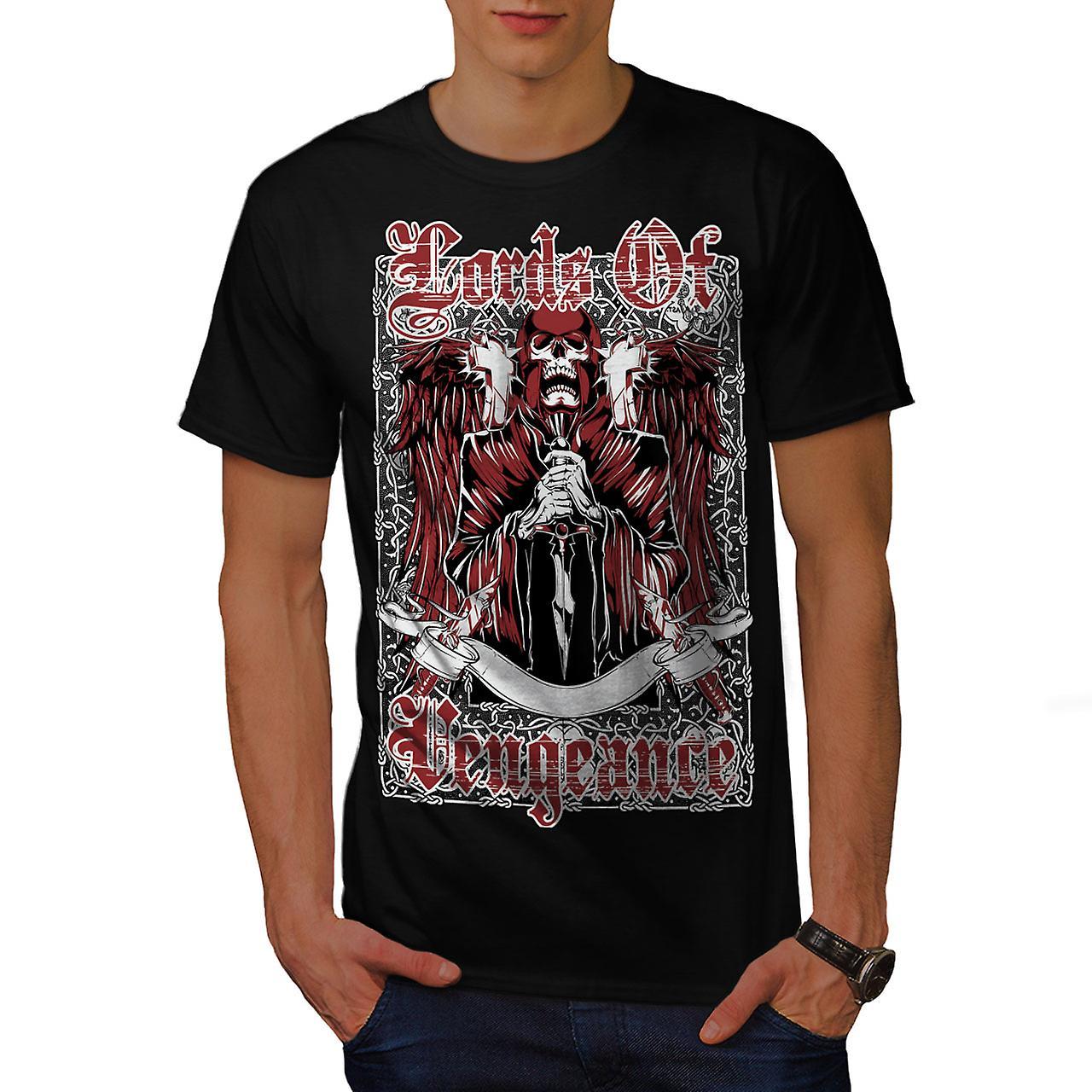 Lords Of Vengeance Skull Men Black T-shirt | Wellcoda