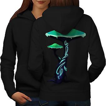 Токсичных грибов печати женщин BlackHoodie обратно | Wellcoda