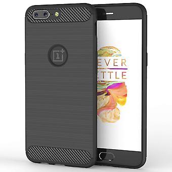 OnePlus 5 Carbon Fibre TPU Case Silicone Cover - Black