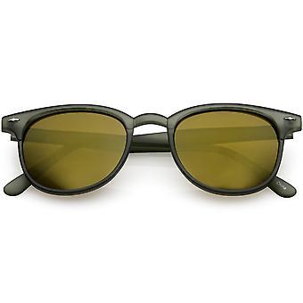 Classic Horn Rimmed Sunglasses Keyhole Nose Bridge Square Mirror Lens 49mm