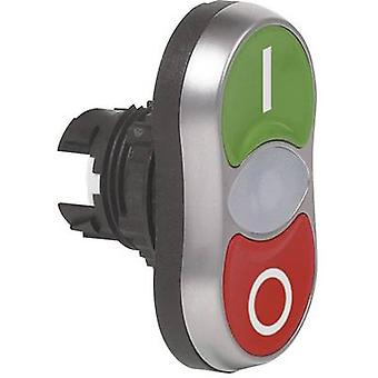 Double head pushbutton Front ring (PVC), chrome-plated Black