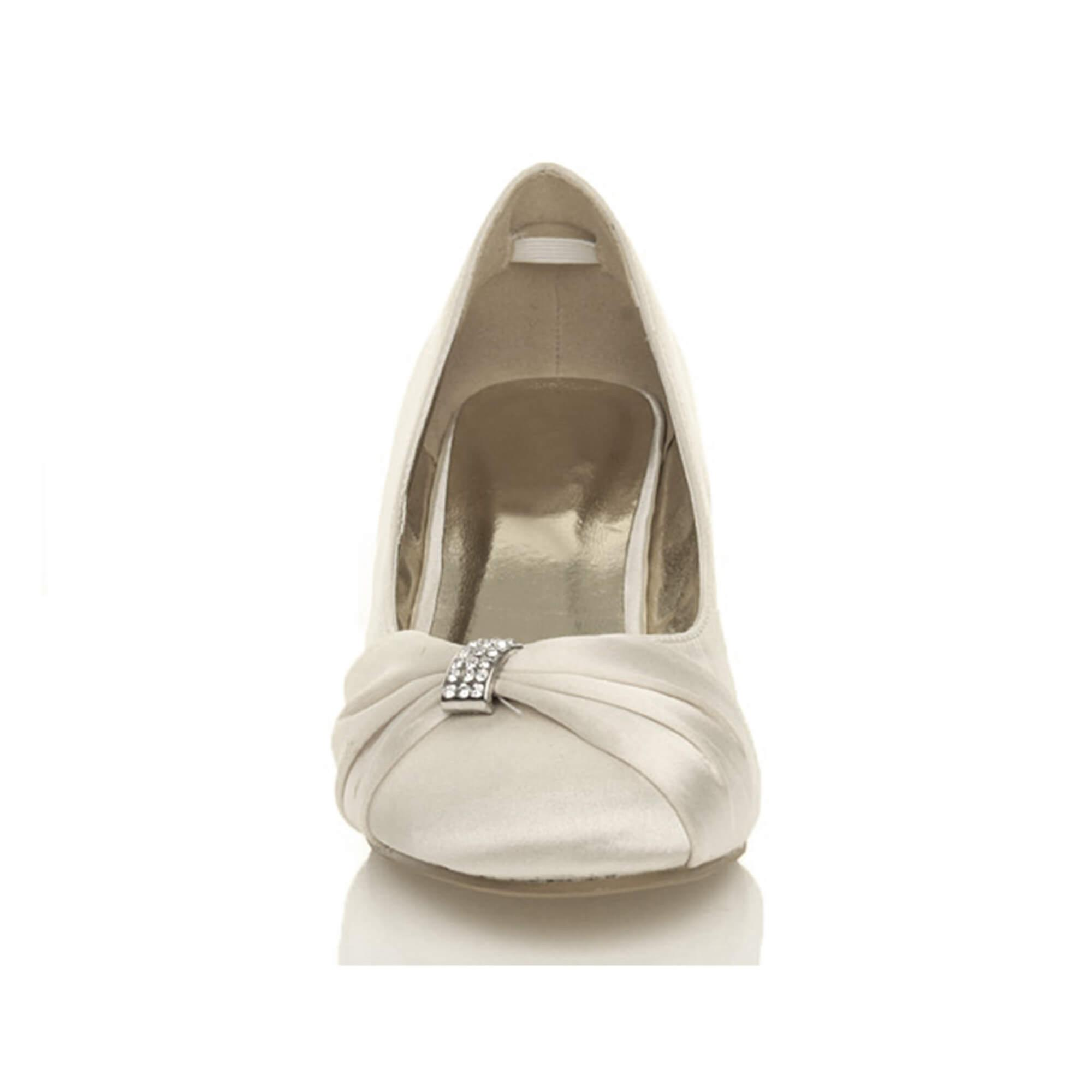 Ajvani womens low mid heel ruched diamante evening prom prom prom wedding bridal shoes 64ba12