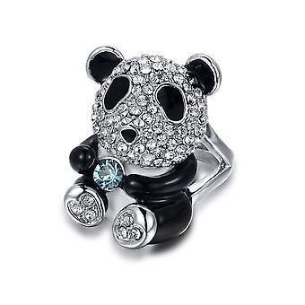 Ring Swarovski Kristallelementen Panda weiß und schwarz - T56