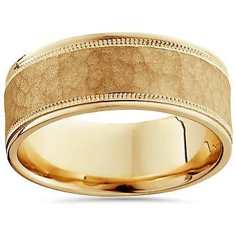 8 مم مطروقة خاتم رجالي 14 ك الأصفر الذهب