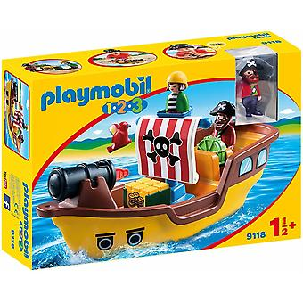 Playmobil 9118 1.2.3 Floating Pirate Ship with Water Cannon