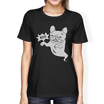 Boo Womens nero rotondo collo divertenti di Halloween Tshirt del Bulldog francese