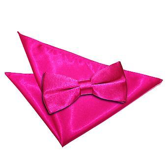 Pajarita raso llano de color de rosa caliente y conjunto Plaza de bolsillo
