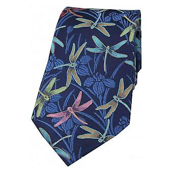 Posh and Dandy Dragonfly Silk Tie - Navy