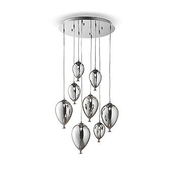 Ideal Lux Clown 8 Glas Bubble verchromt Glas Pendelleuchte