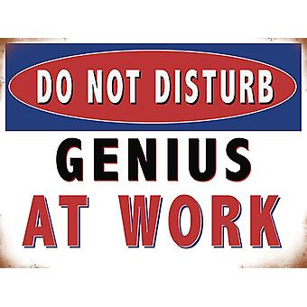 Bitte nicht stören, Genius bei Arbeit große Steel unterzeichnen 400 X 300 Mm