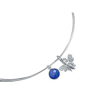 Gemshine - ladies - necklace - pendant - 925 Silver - BEE - bee - sapphire - blue - 45 cm