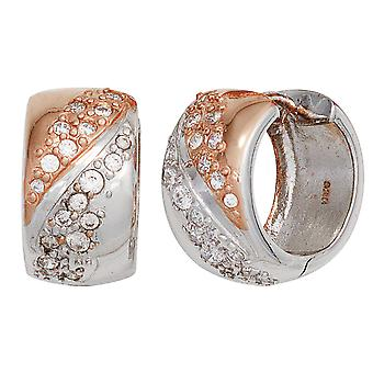 Hoops rhodium plated 925 Sterling Silver earrings silver part red gold with cubic zirconia