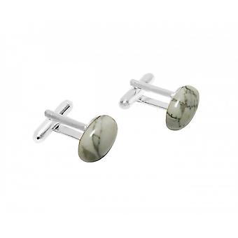 Men - cuff links - 925 Silver - Ho - white - gray - 16 mm