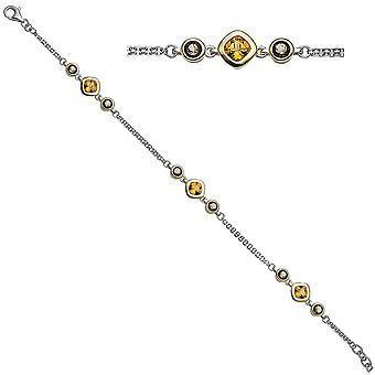 Bicolor bracelet 925 sterling silver gold plated 6 smoky quartzes 3 citrine 20 cm