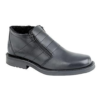 Mens Leather Thermal Lined Warm Twin Zip Ankle Boots Shoes
