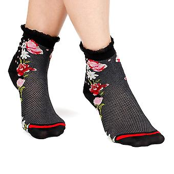Daisy women's crazy cotton ankle socks in black | By Fil de Jour
