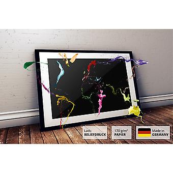 Thrown Paint World Map Poster Michael Tompsett world map printed with special paint on 170 gram paper