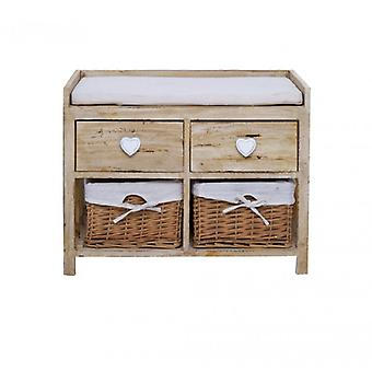 2 drawers and 2 Shabby Beige bench With Wicker baskets-Re4159-Rebecca's Furniture