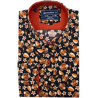 Oscar Banks Autumn Leaf Print Mens Shirt