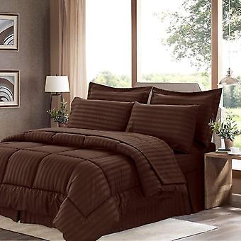 100% Cotton Comforter 5 Piece Set-chocolate/brown/coffee