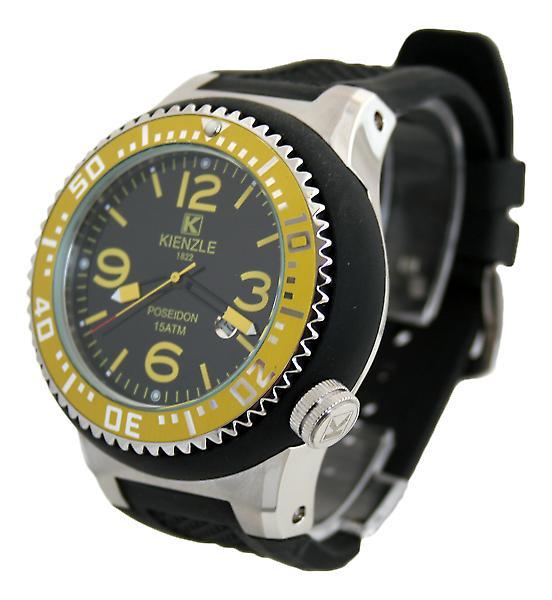 Waooh - Montre Kienzle 720 3047 - Bracelet silicone noir - Cadran noir - Boîte métal & noire - Lunette jaune & silver