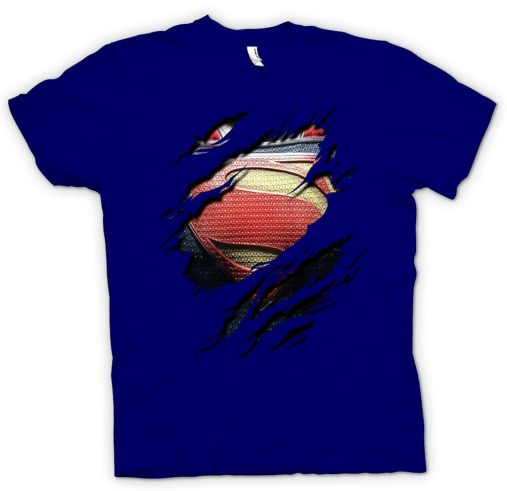 Mens T-shirt - New Super Man Costume - Superhero Ripped Design