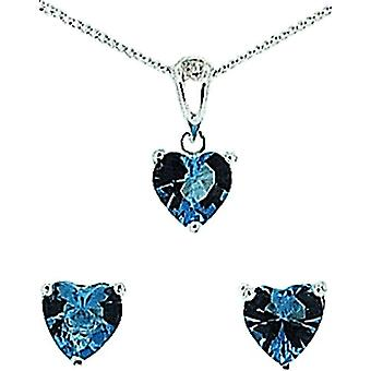 TOC Sterling Silver Blue Rhinestone Heart Earrings & Pendant Necklace 18