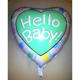 "Large Foil Balloon 'HELLO BABY' Heart 36"" (Requires Helium)"