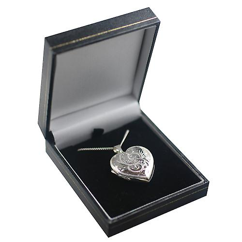 Silver 30x28mm hand engraved heart shaped 4 photo Family Locket with a curb Chain 24 inches