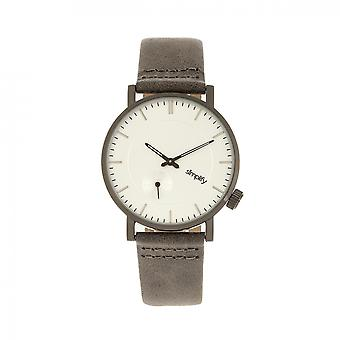 Simplify The 3600 Leather-Band Watch - Silver/Grey