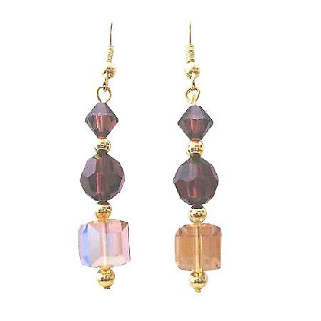 Lite Colorado AB Coated 8mm cubes round Burgundy Gold Plated Earrings