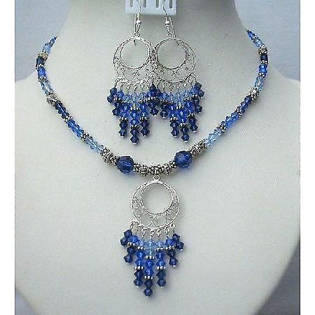 Swarovski Jewelry Multi Color Of Sapphire Crystals w/ Bali Silver
