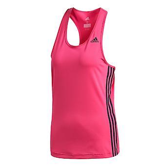 Adidas D2M 3-Stripe Womens damer Fitness Running Vest Tank Magenta