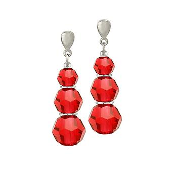 Eternal Collection Trinity Light Siam Red Austrian Crystal Silver Tone Drop Clip On Earrings