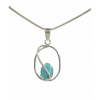 "Cavendish French Sterling Silver Caged Formed Turquoise Stone Pendant with 16 - 18"" Silver Chain"