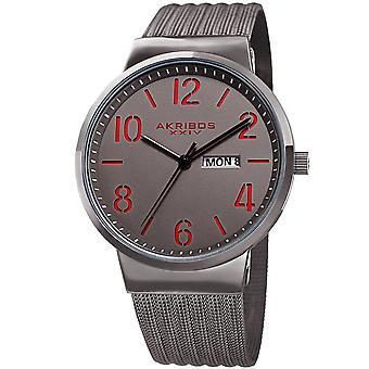 Akribos XXIV AK996GN Date Matte Dial Stainless Steel Mesh Strap Watch