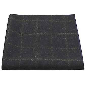 Heritage Check Navy Blue Pocket Square, Handkerchief