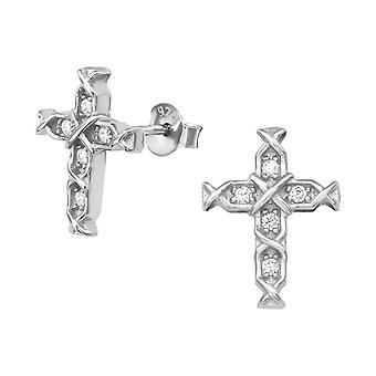 Cross - 925 Sterling Silver Cubic Zirconia Ear Studs - W38972X
