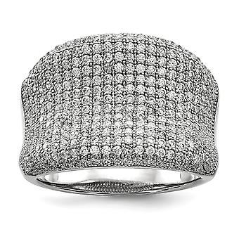 925 Sterling Silver Pave Rhodium-plated and Cubic Zirconia Fancy Polished Ring - Ring Size: 6 to 8