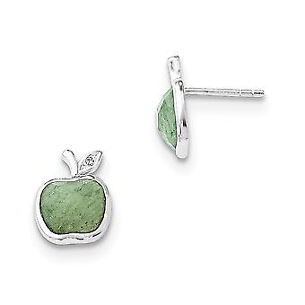 925 Sterling Silver White Ice Green Aventurine and 1/2pt Diamond Post Earrings - .007 dwt .51 cwt