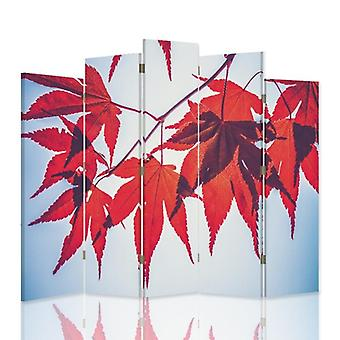 Decorative Room Divider, 5 Panels, Double-Sided, 360 ° Rotatable Canvas, Red Leaves
